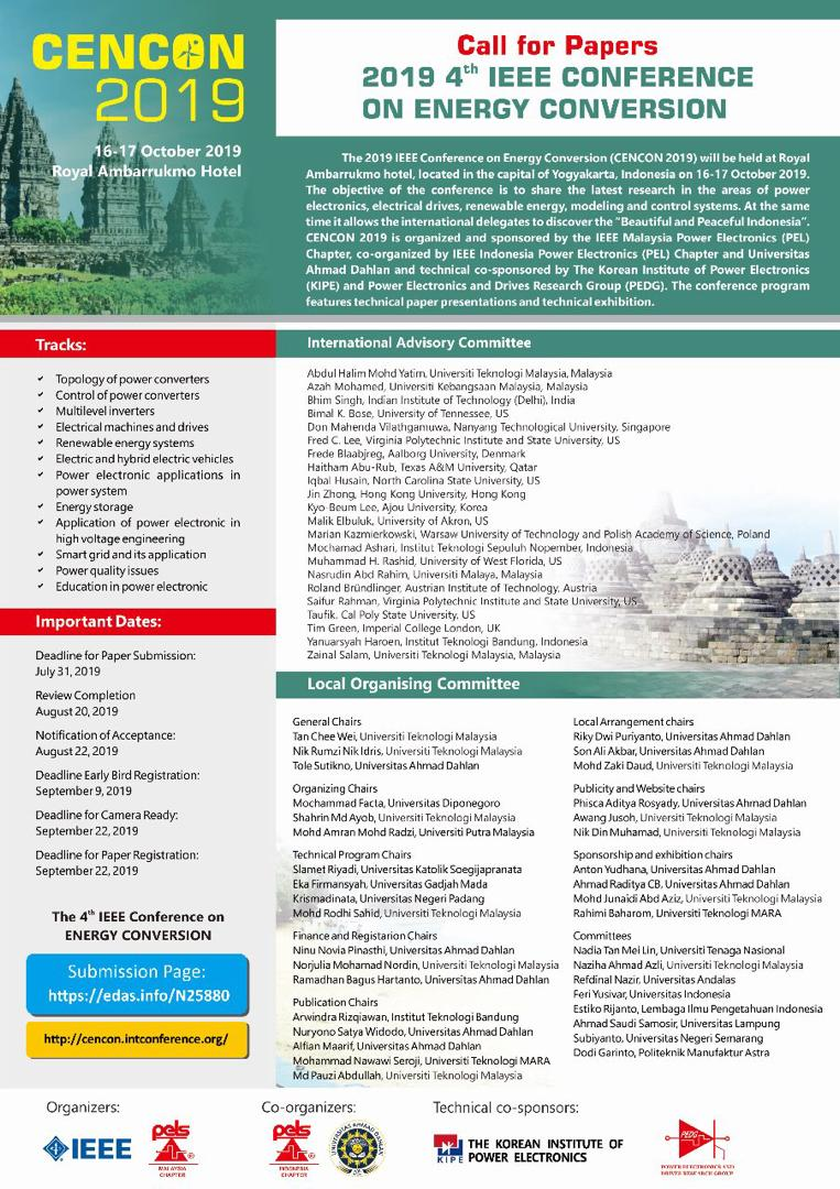 CFP: 2019 4th IEEE Conference on Energy Conversion | Muazzah