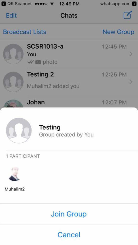 Joining a WhatsApp Group via QR Code   Muhalim @ Abu Mubassyir