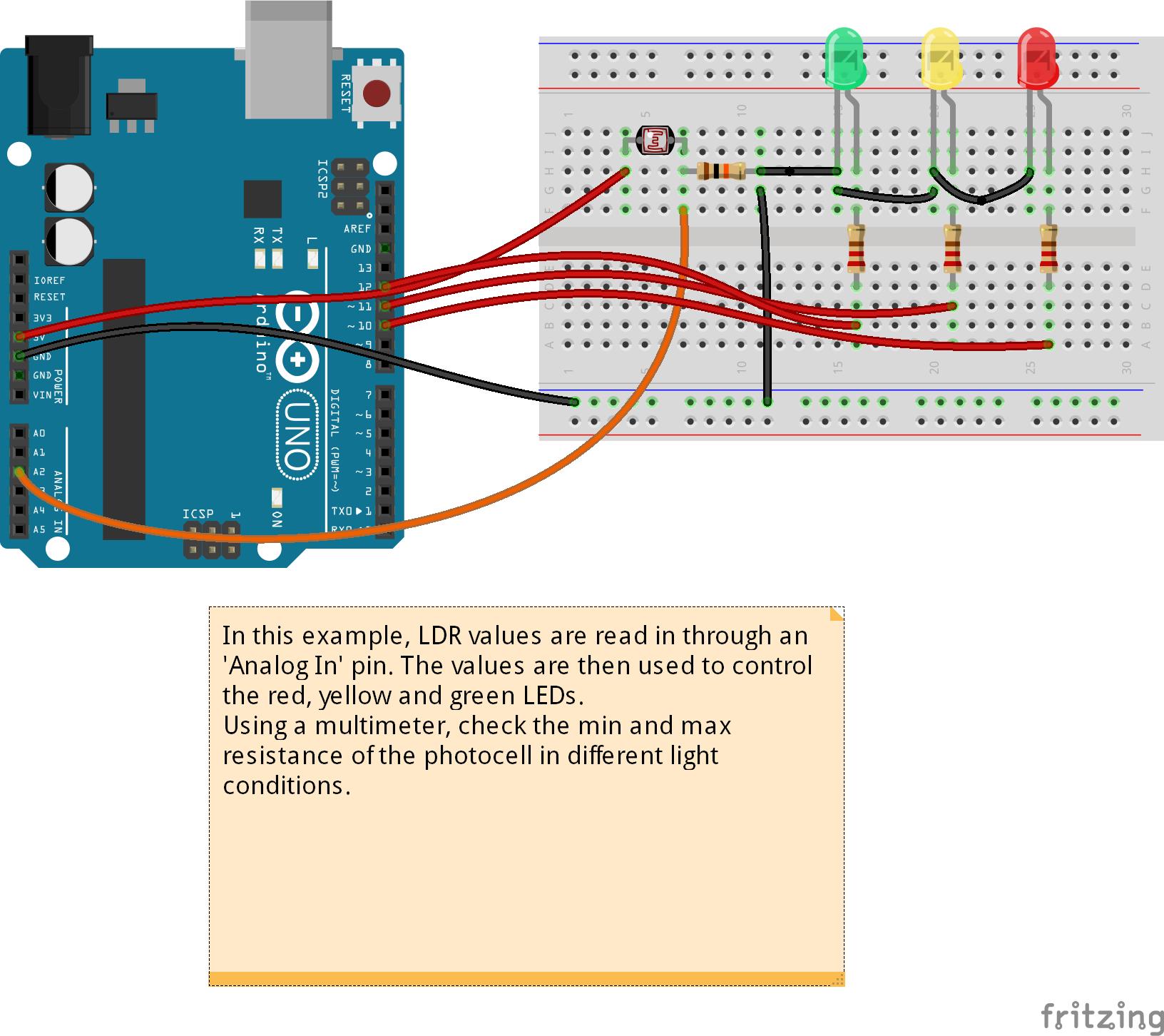 Arduino Sensor Cahaya Ldr Atau Apabila Gelap Led Merah On Dan Terang Kuning Akan Menyala Untuk Menunjukkan Bahwa Litar Berfungsi Dengan Baik Hijau