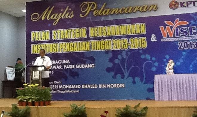 Majlis Pelancaran Pelan Strategik Keusahawanan Institusi PengajianTimggi  2013-2015